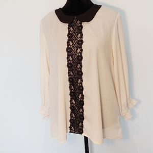 Melissa Masse Cream Collared Black Lace Blouse XL